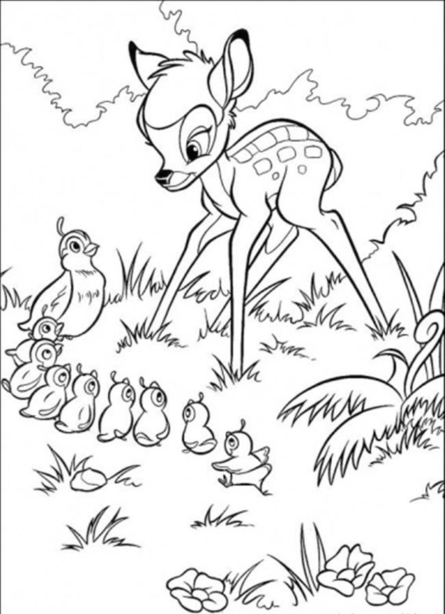Bambi And Family Of Pheasant Coloring Page