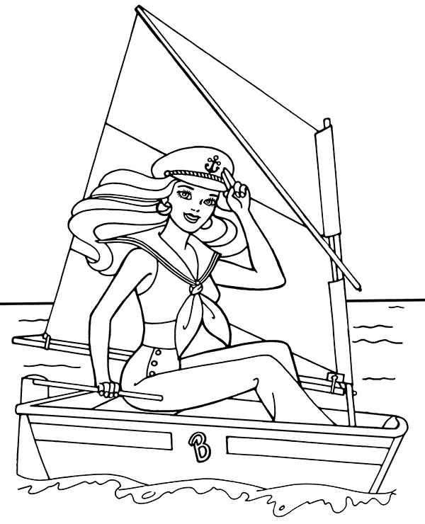 Barbie Sailing Coloring Pages