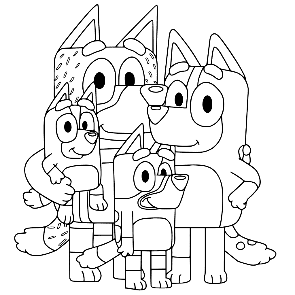 Bluey Characters Coloring Pages