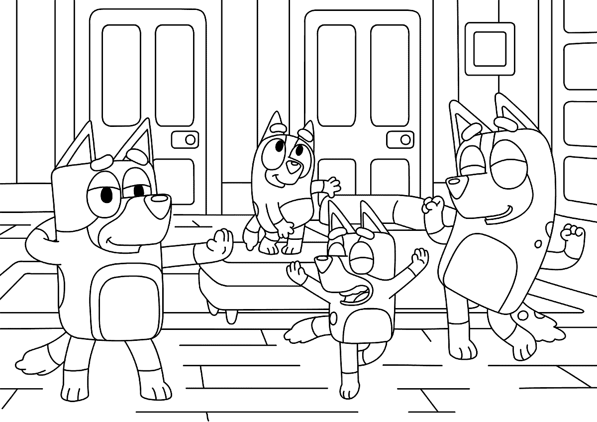 Bluey Dancing Coloring Pages