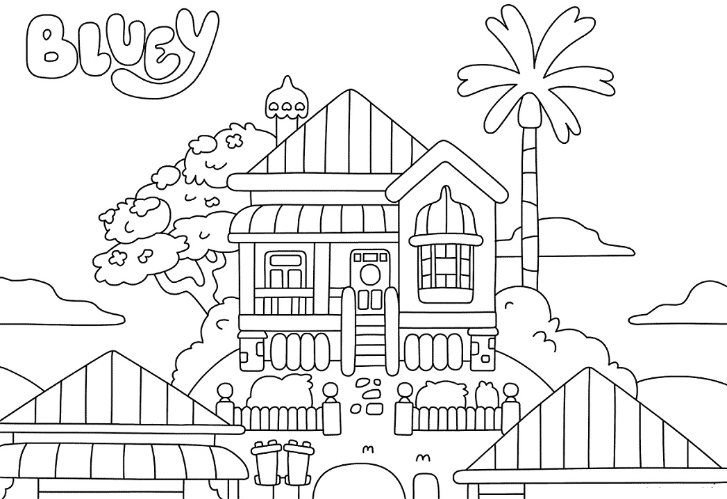 Bluey House Coloring Pages