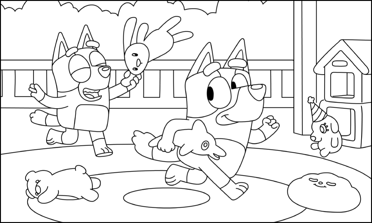 Bluey Scene Coloring Pages