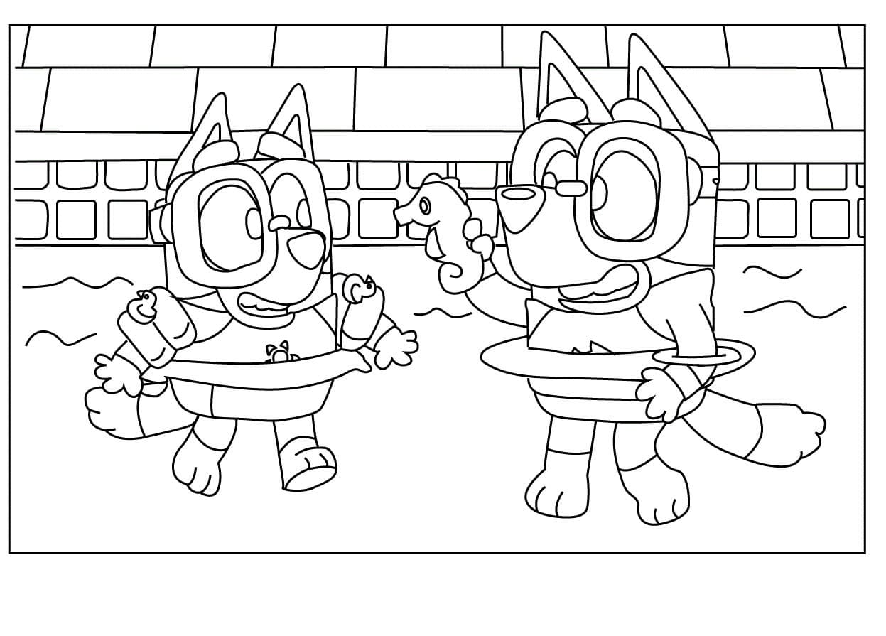 Bluey Swimming Pool Coloring Pages