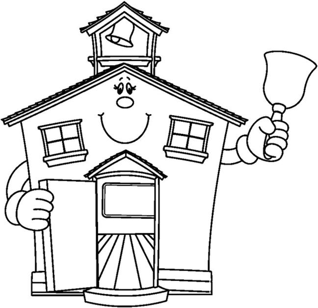 Cartoon School Ringing Bell Coloring Page