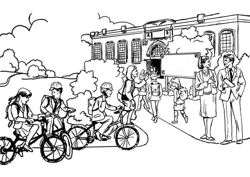 Children At School Coloring Page