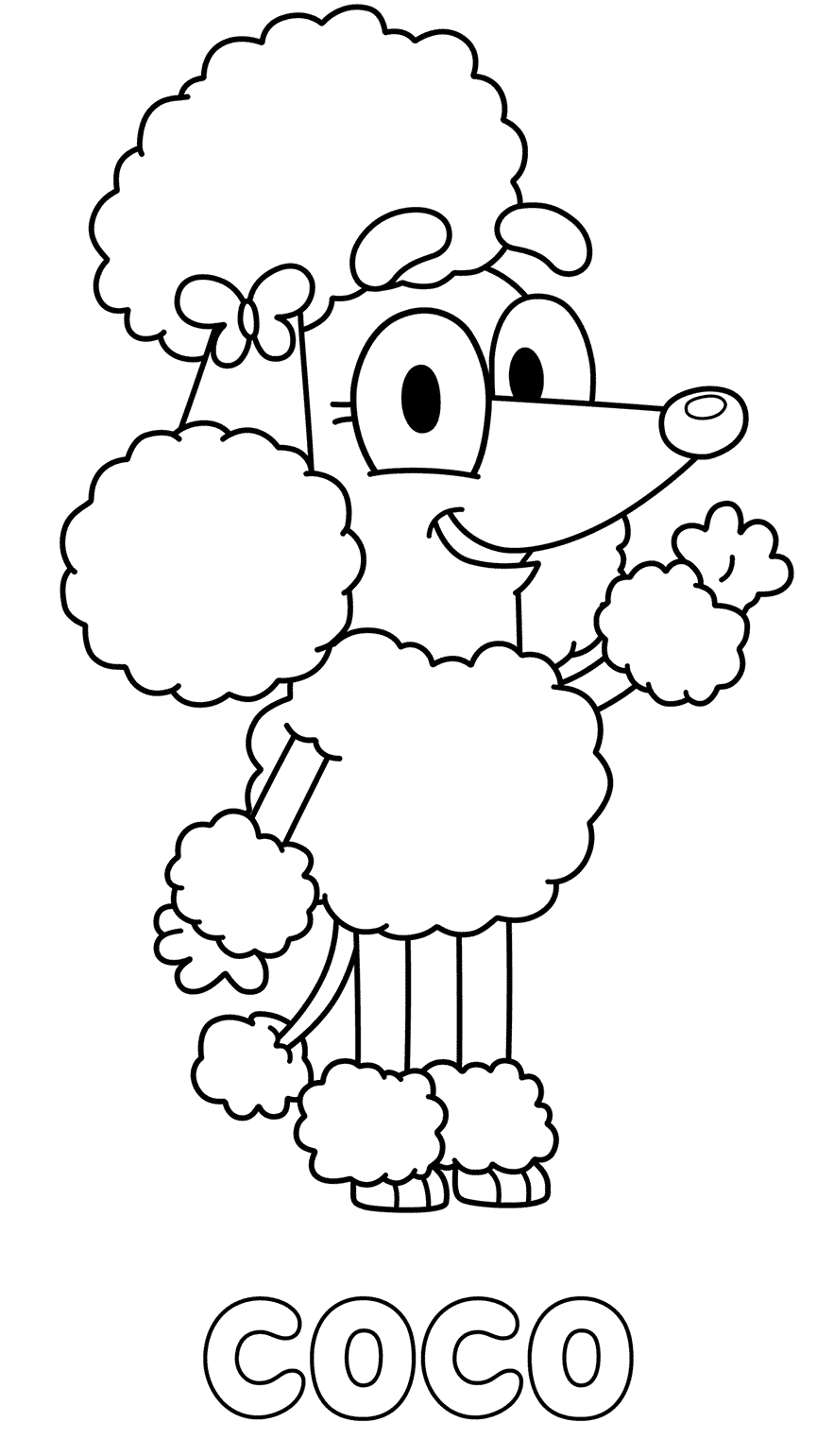 Coco Bluey Coloring Pages