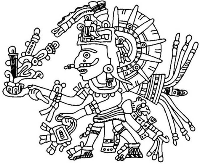 Cool Aztec Drawing Colroing Page