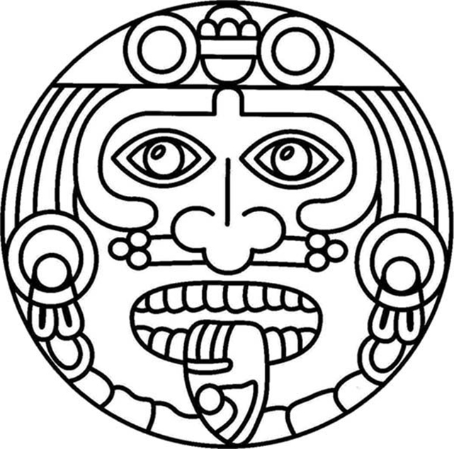 Easy Aztec Character Coloring Page