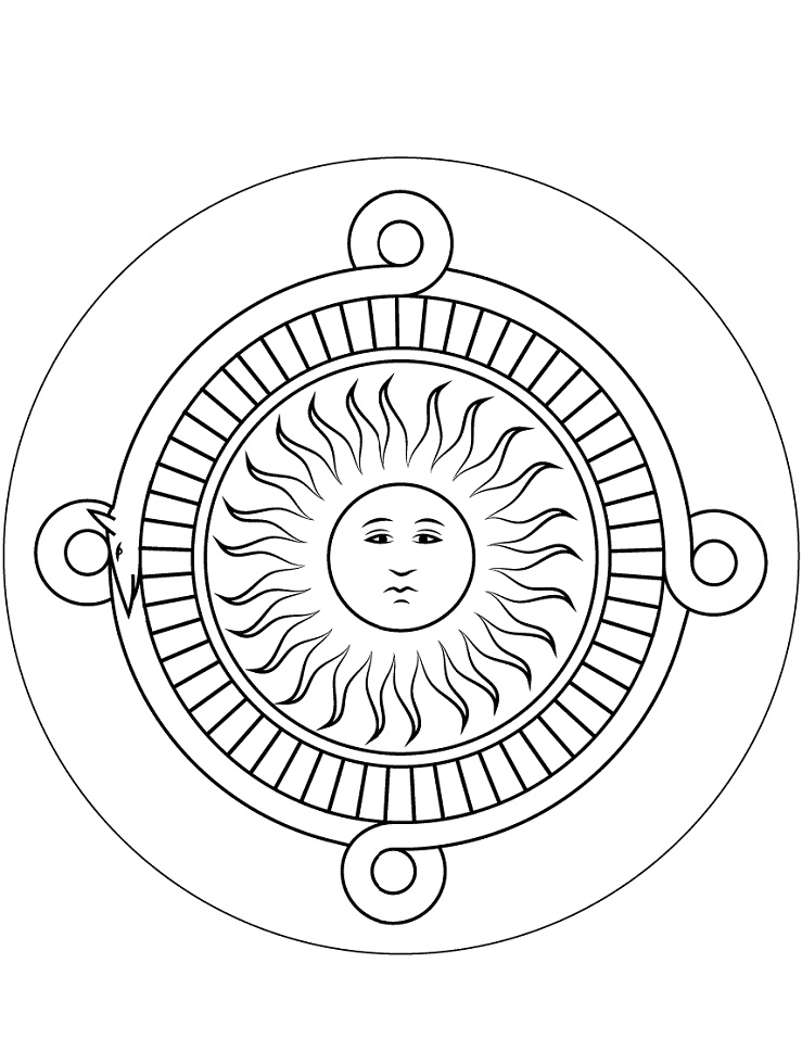 Easy Aztec Sun Coloring Page