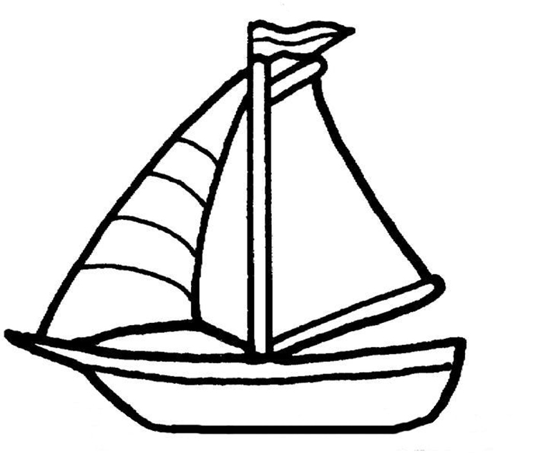 Easy Sailboat Coloring Page