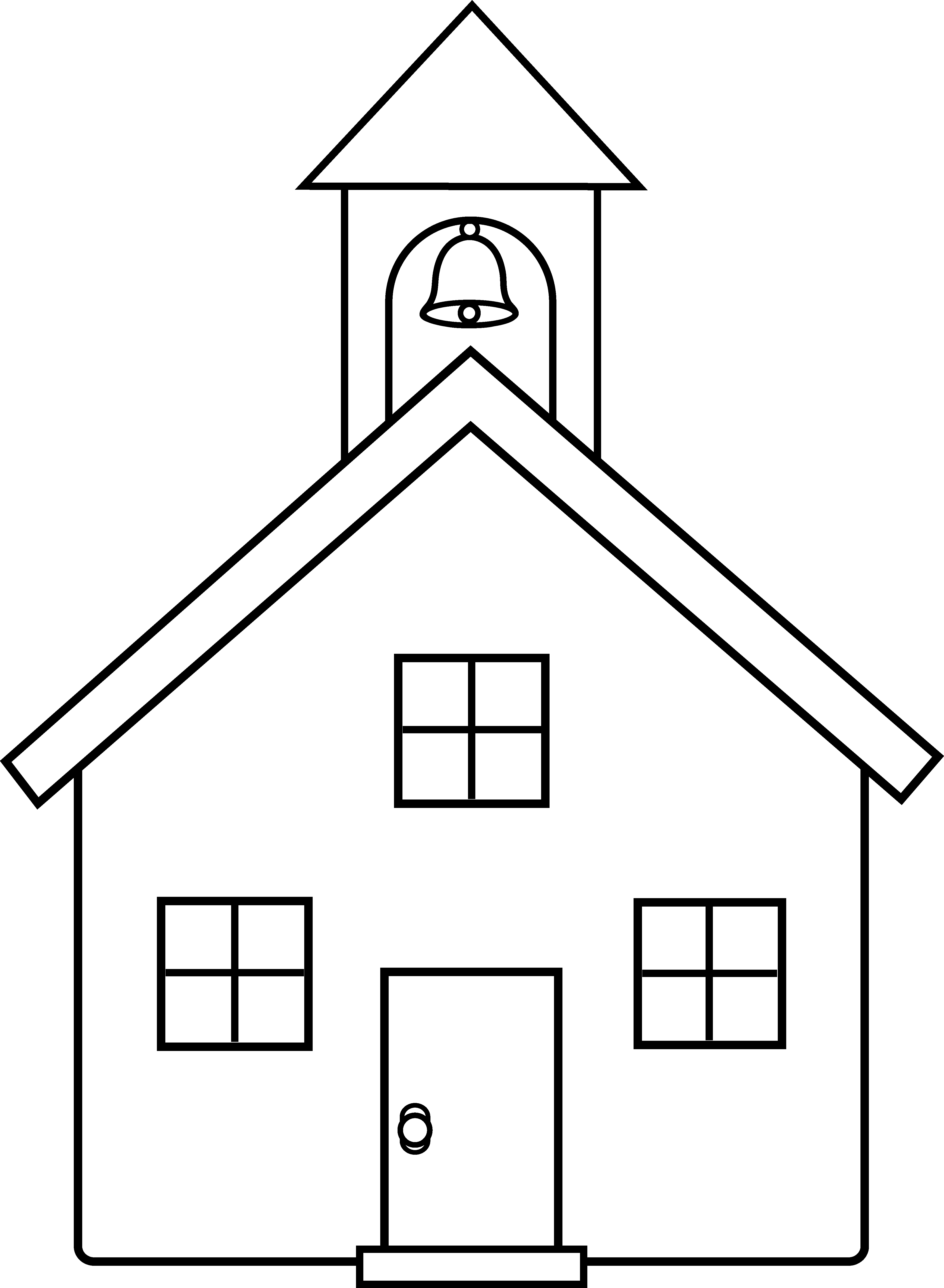 Easy Schoolhouse Coloring Page
