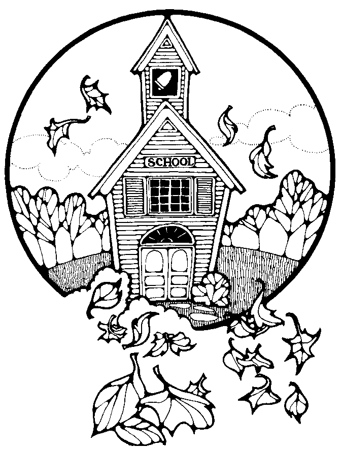 Fall School House Coloring Pages