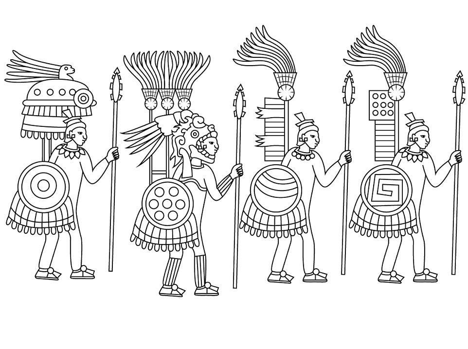 Four Aztecs Coloring Page