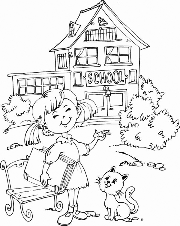 Happy Student School Coloring Page