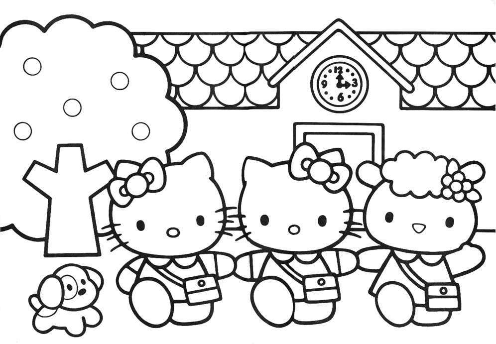Hello Kitty At School Coloring Pages