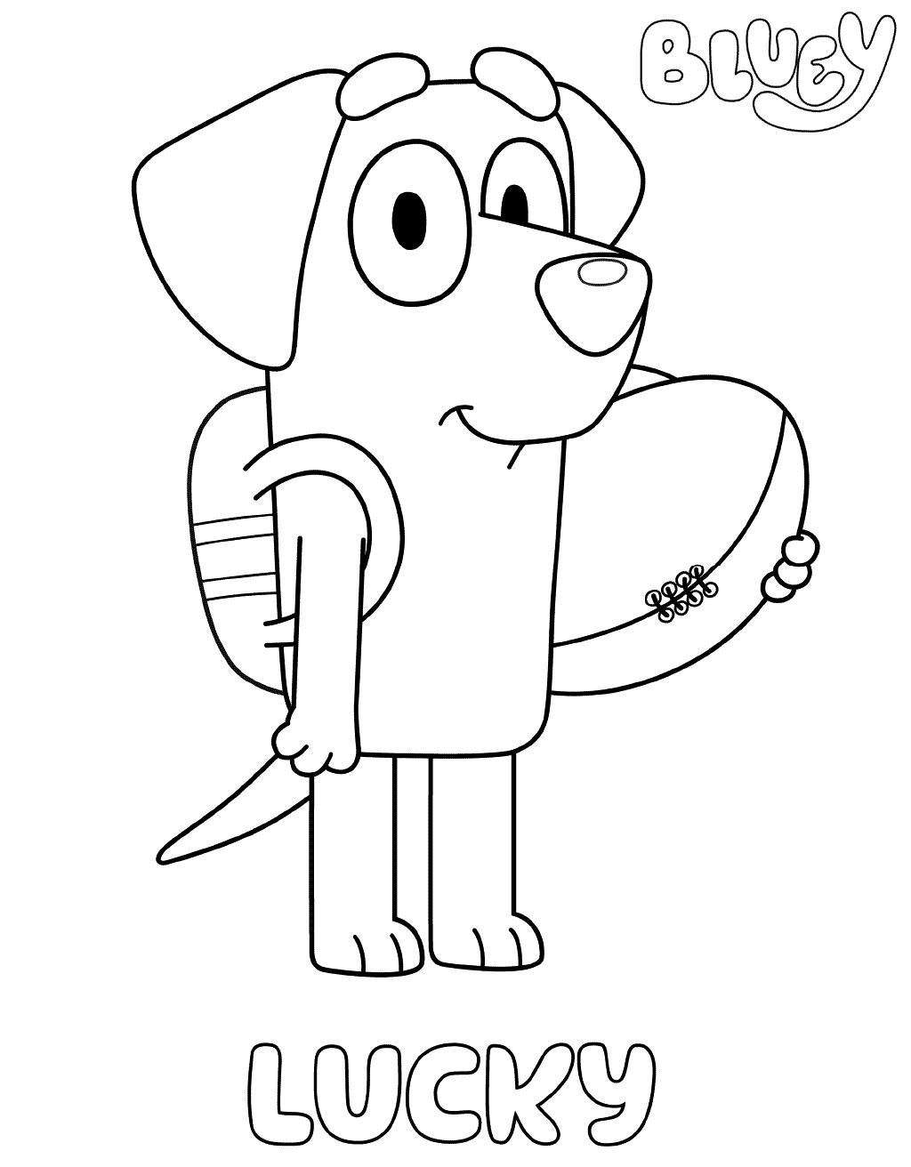 Lucky Bluey Coloring Pages