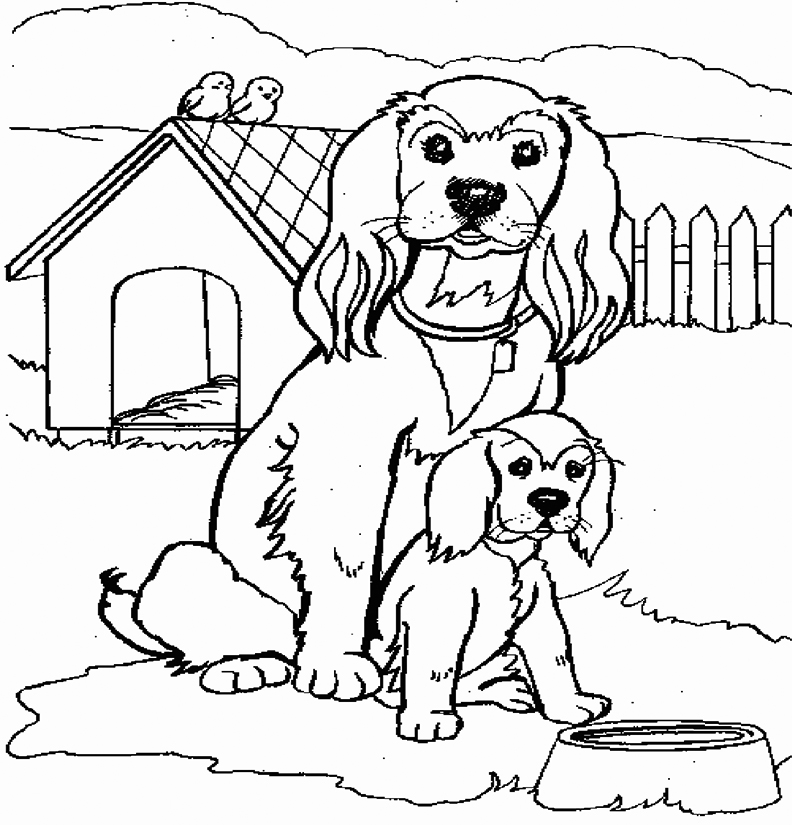 Mom And Baby Cocker Spaniel Coloring Page