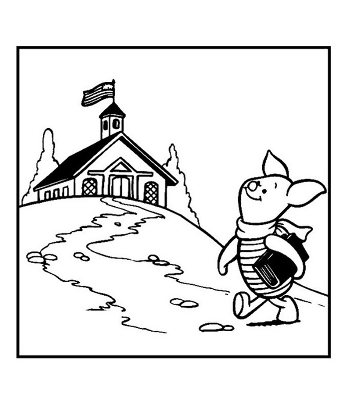 Piglet Going To School Coloring Page