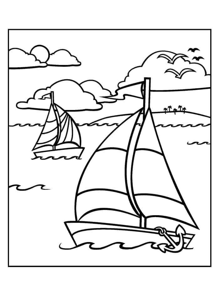 Sailboats Coloring Page
