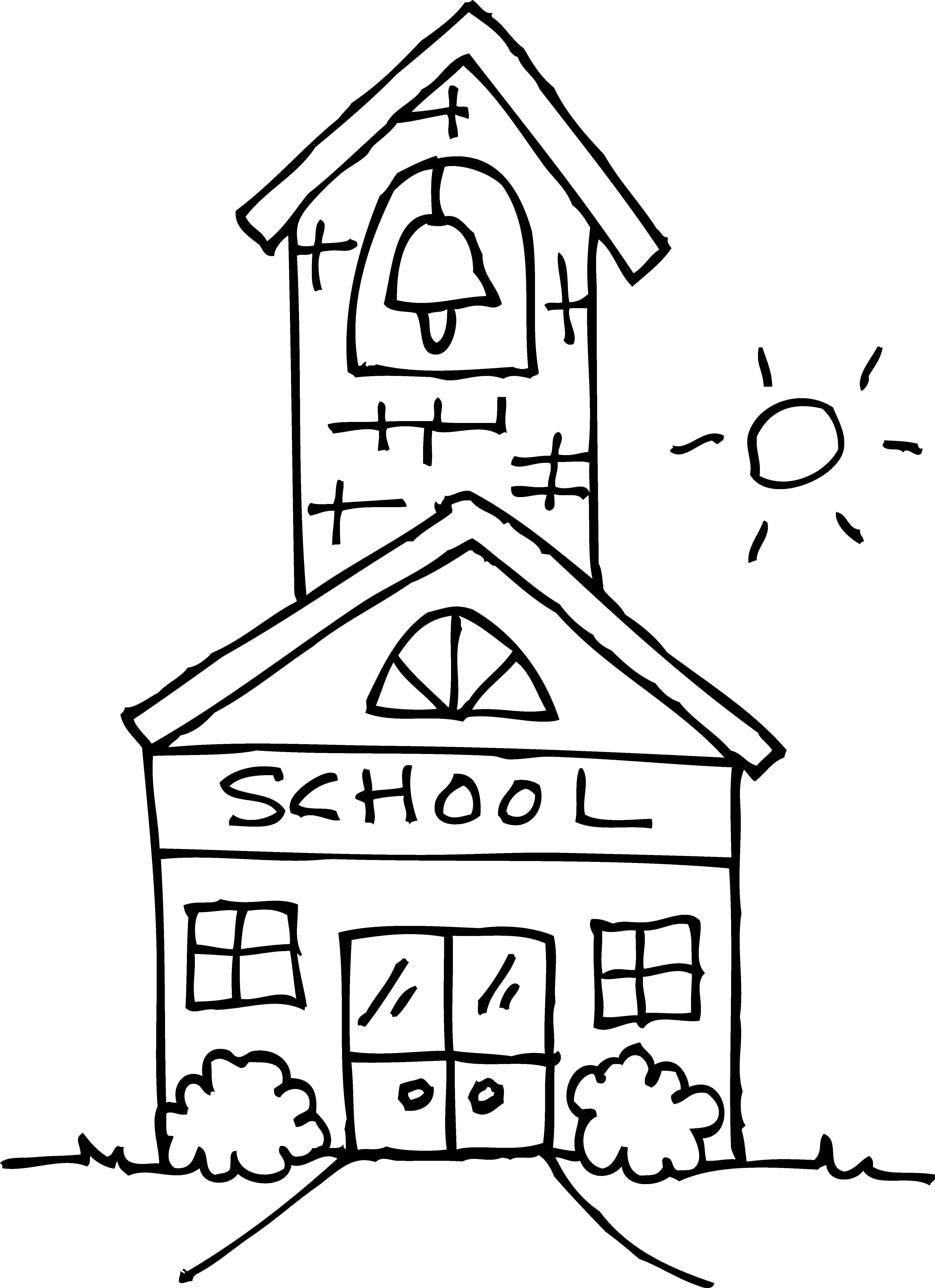 Schoolhouse With Bell Coloring Page