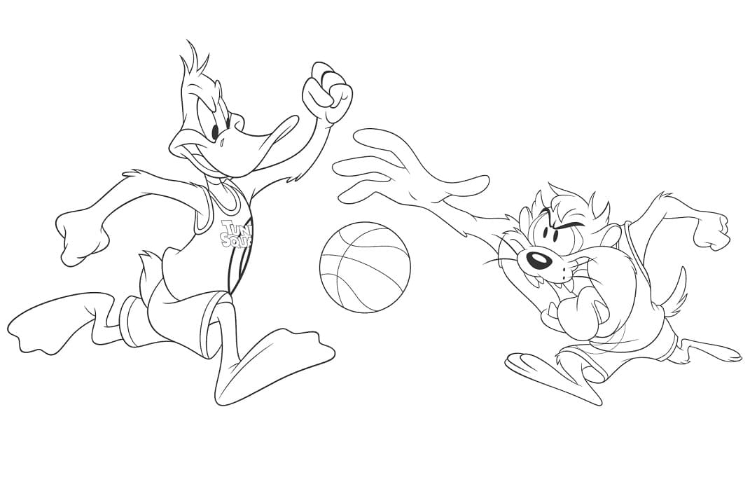 Space Jam Daffy And Taz Coloring Pages