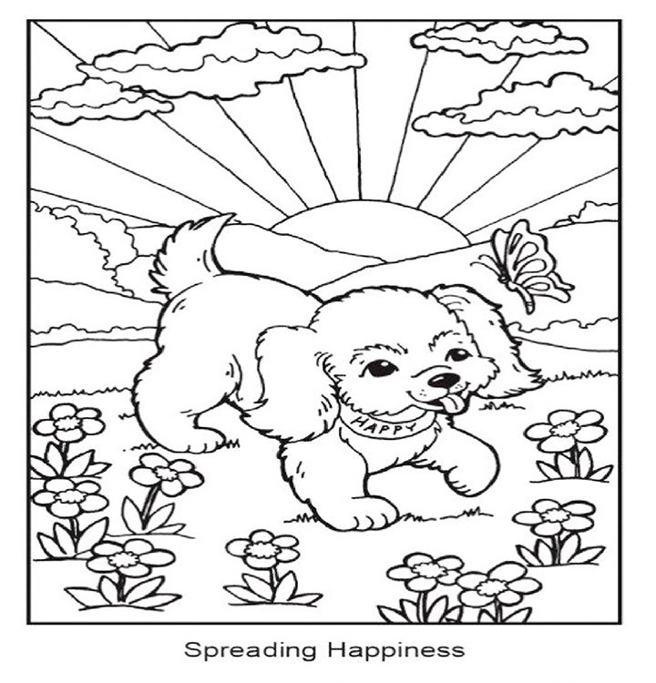 Spreading Happiness Cocker Spaniel Coloring Page