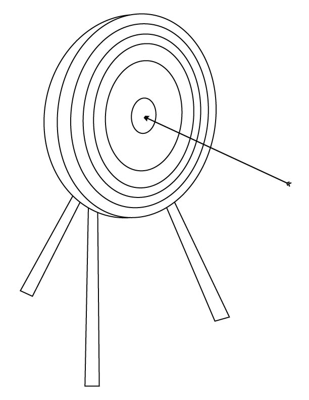 Arrow Hitting Target Coloring Page