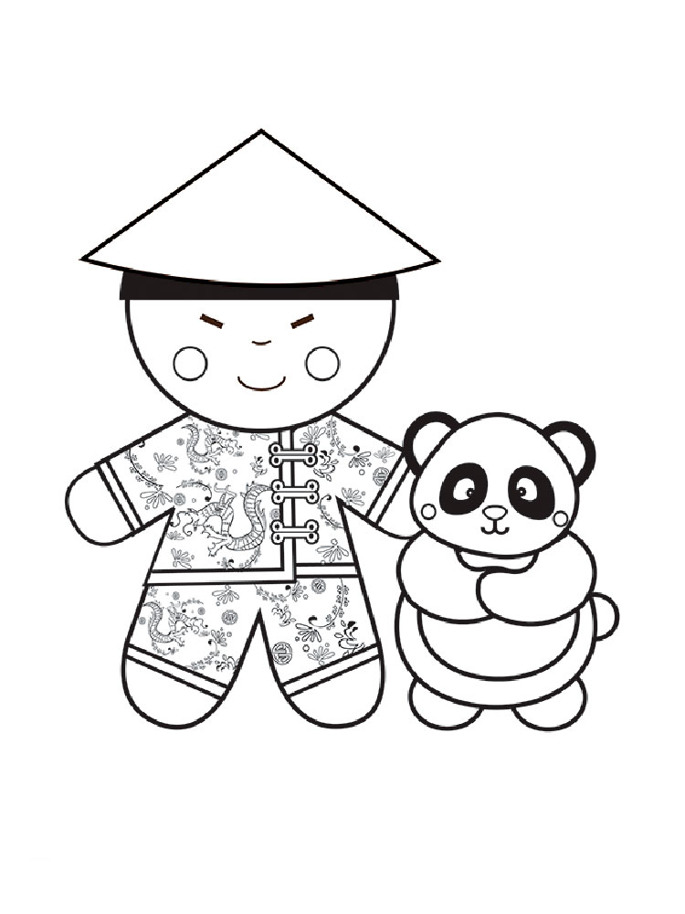 Asian Toys Coloring Page