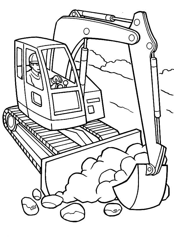 Backhoe Construction Coloring Page