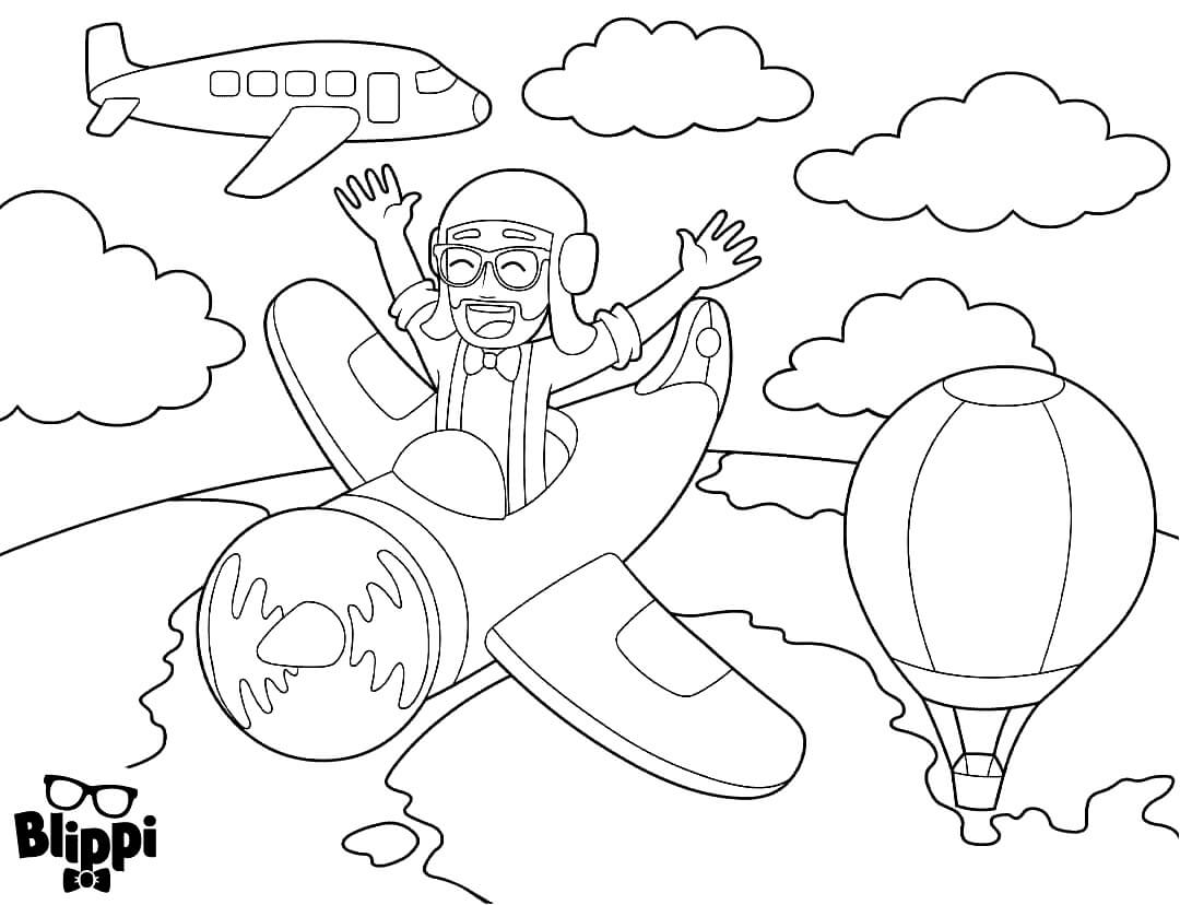 Blippi Flying Airplane Coloring Pages