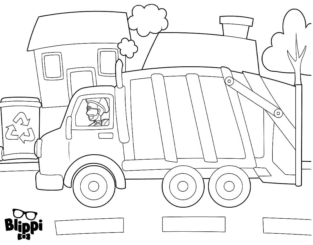 Blippi In A Garbage Truck Coloring Pages