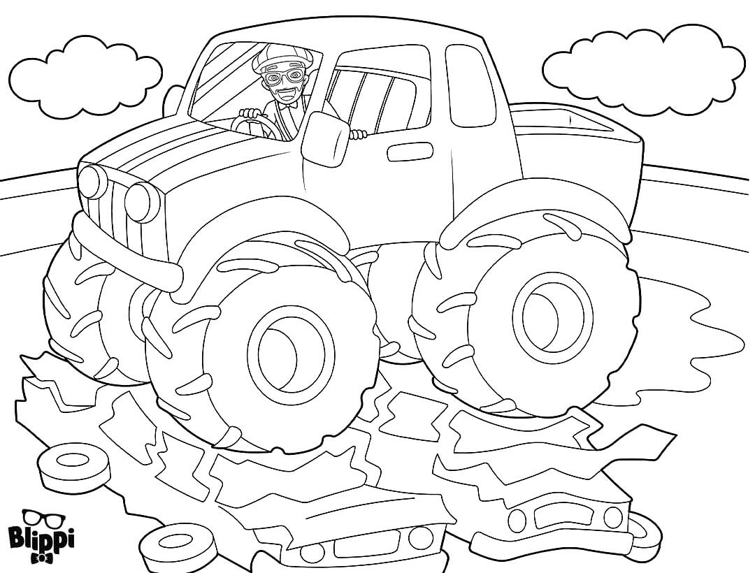 Blippi In A Monster Truck Coloring Pages