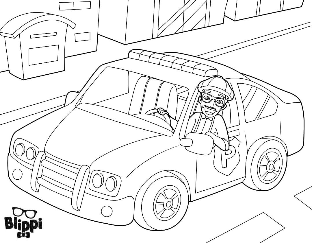 Blippi In A Police Car Coloring Pages