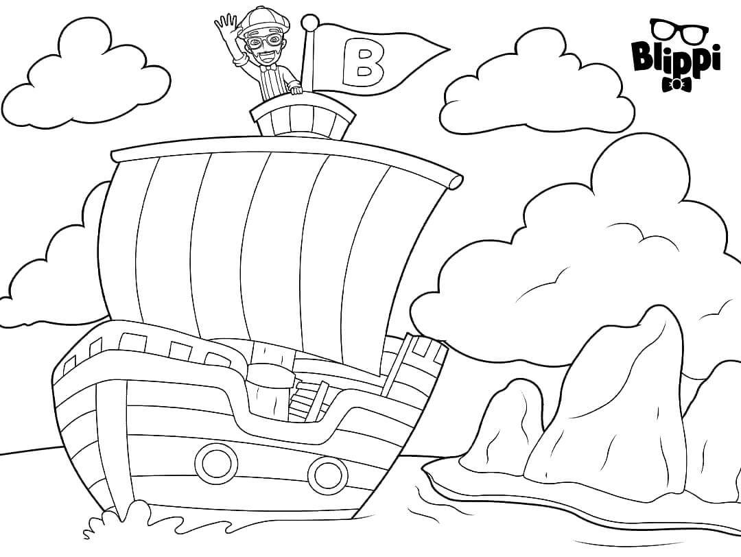 Blippi On A Sailboat Coloring Pages