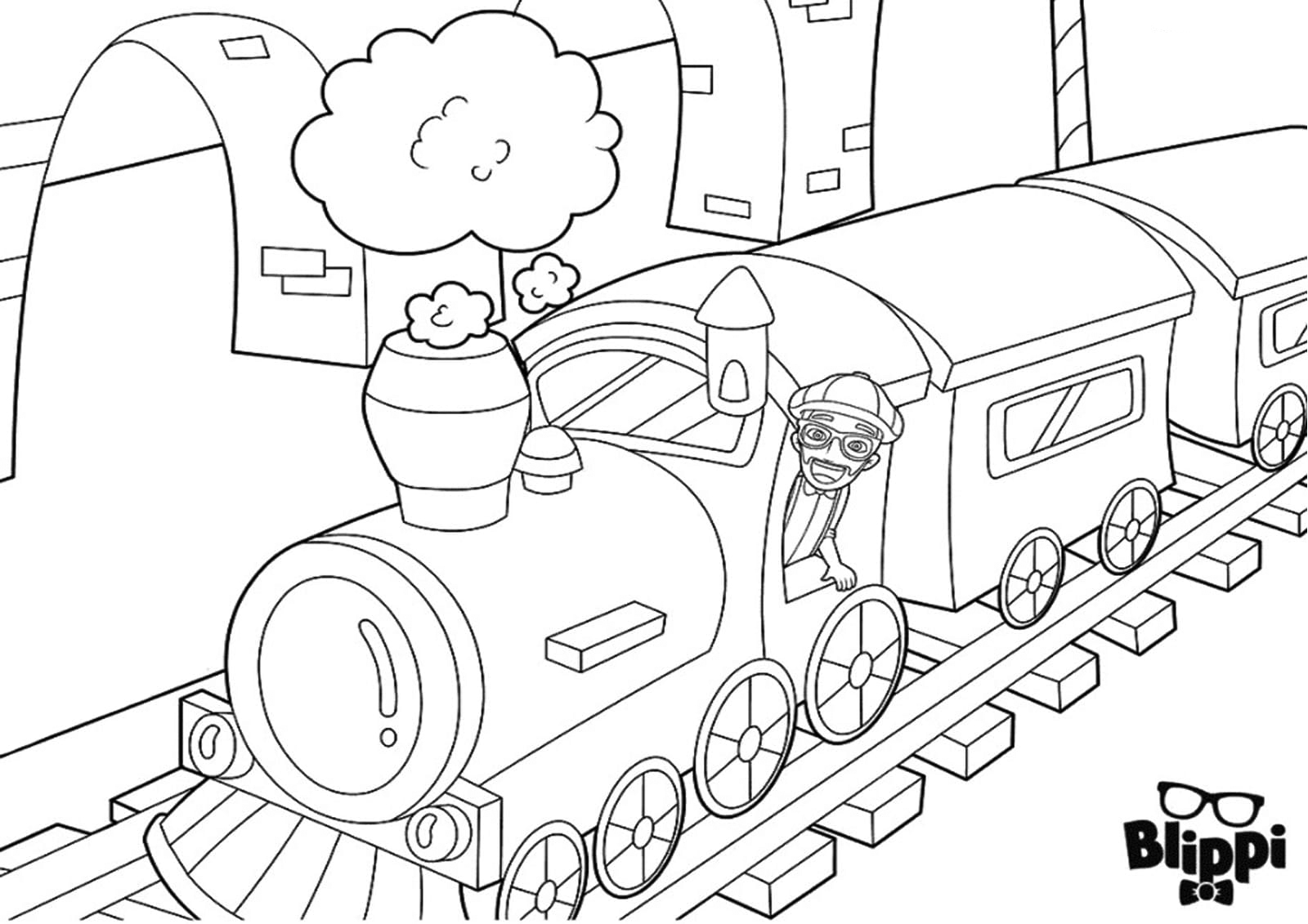 Blippi On A Train Coloring Pages