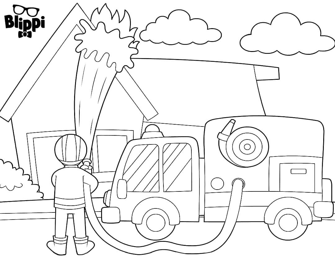 Blippi The Firefighter Coloring Page