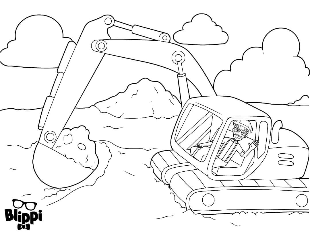 Blippin In A Backhoe Coloring Page