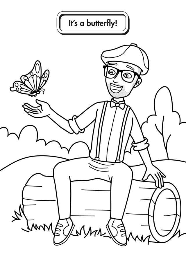 Blipping And Butterfly Coloring Page