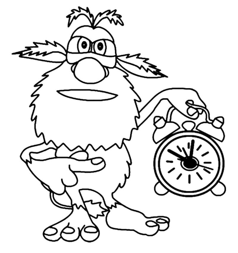 Booba And Alarm Clock Coloring Page