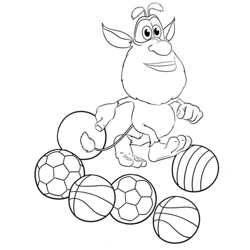 Booba And Balls Coloring Page