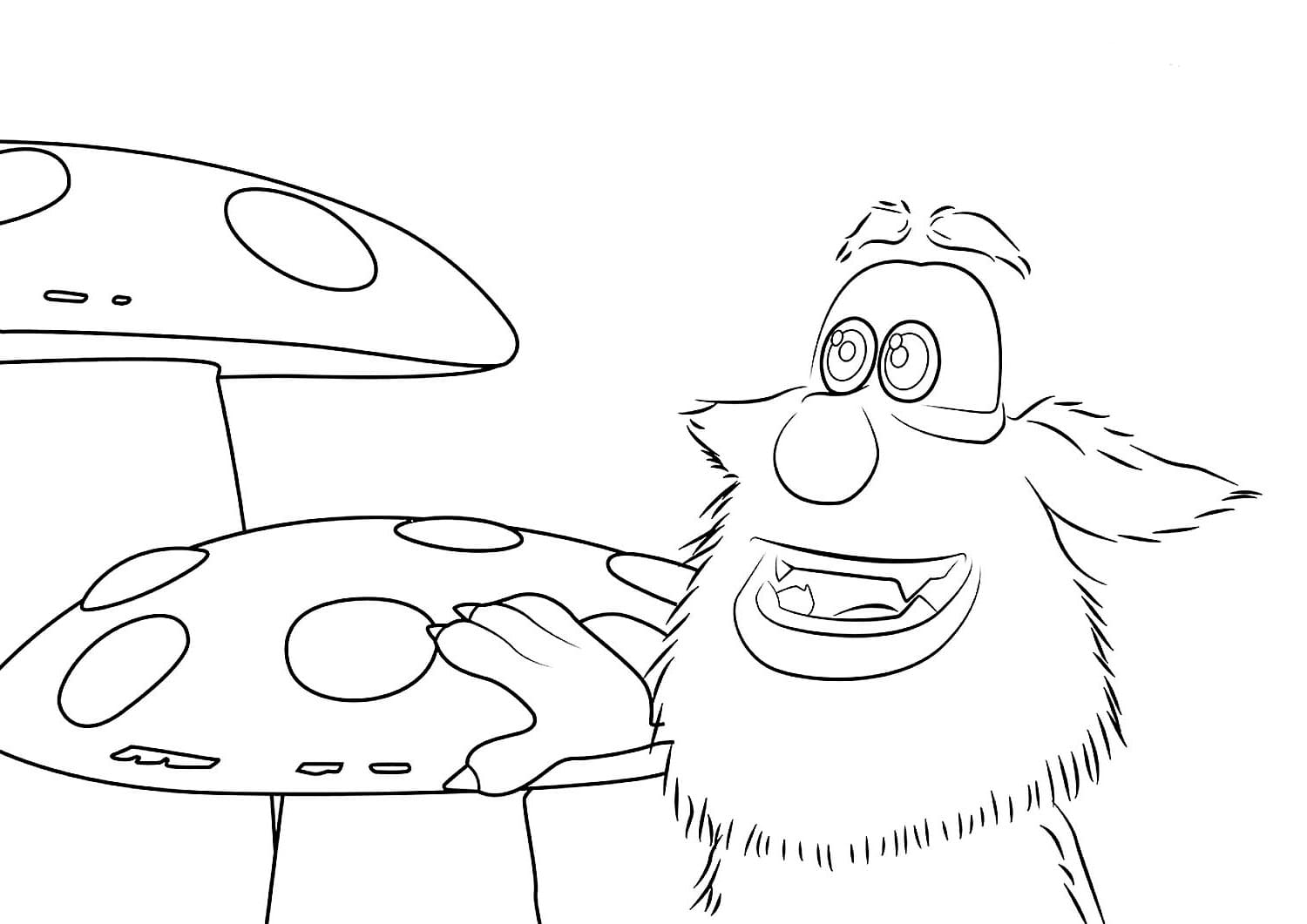 Booba In Mushrooms Coloring Page