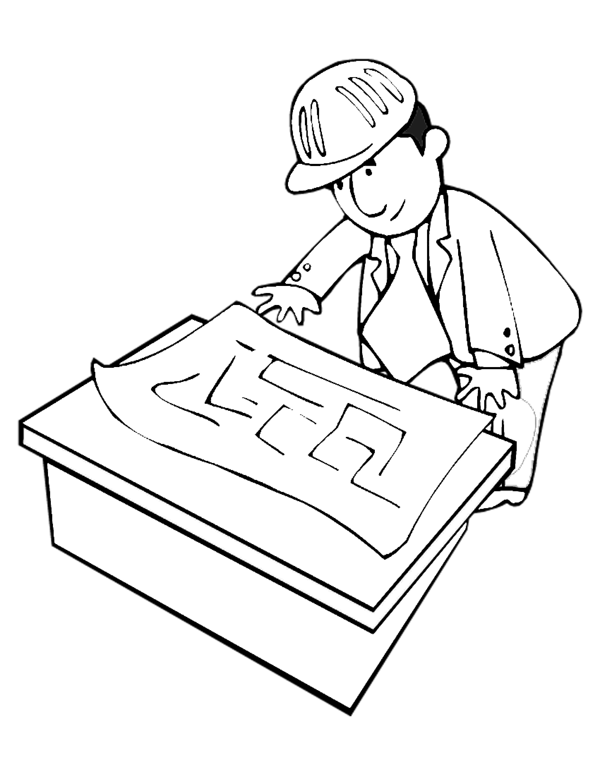 Builder With Blueprints Coloring Page