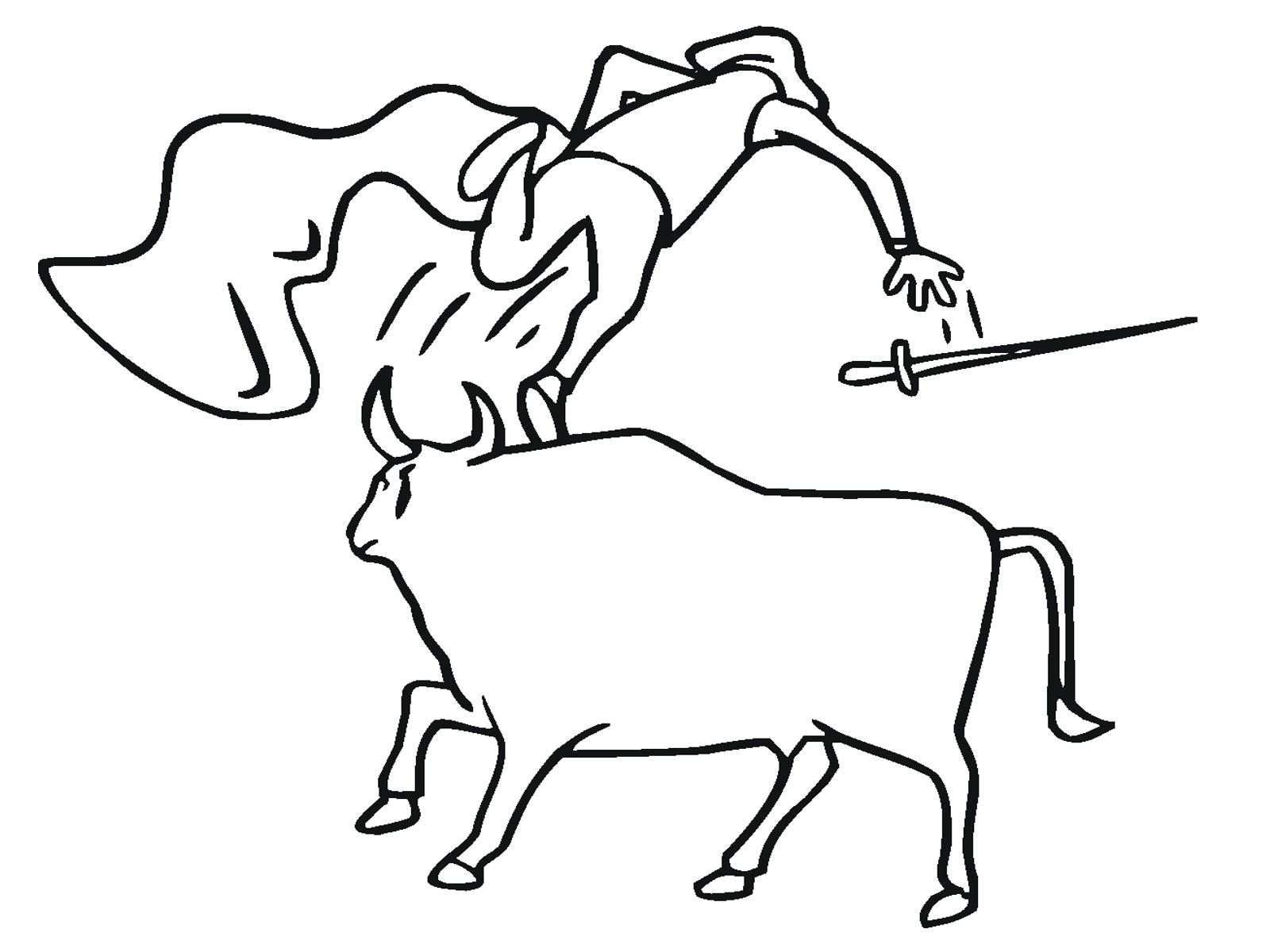 Bull Throwing Matador Coloring Page