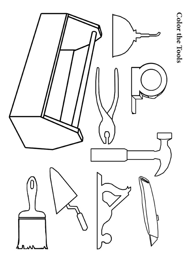 Color The Construction Tools Coloring Pages