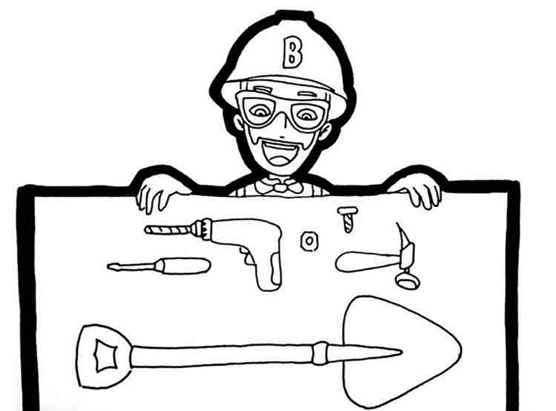 Construction Blippi Coloring Page