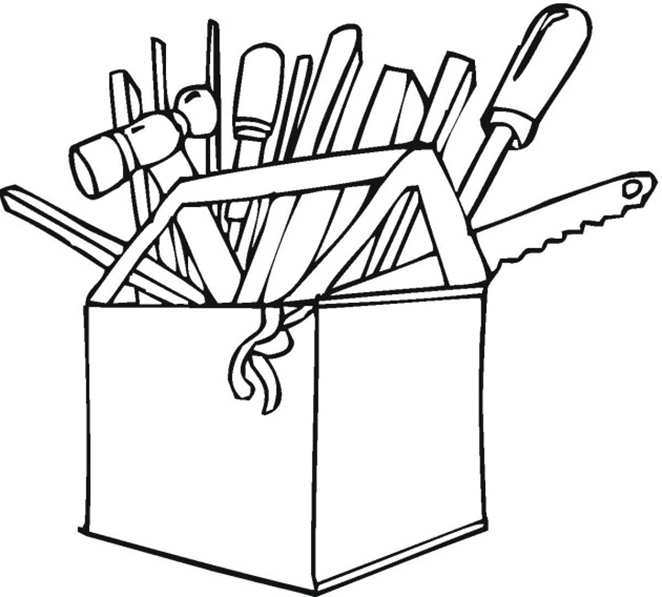 Construction Toolbox Coloring Page