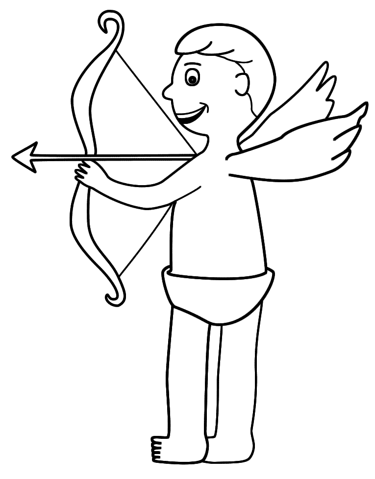 Cupid And His Arrow Coloring Page