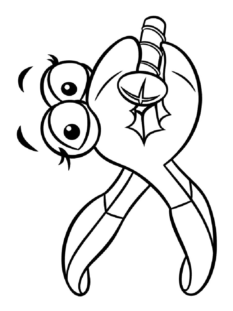 Cute Wrench Character Coloring Pages