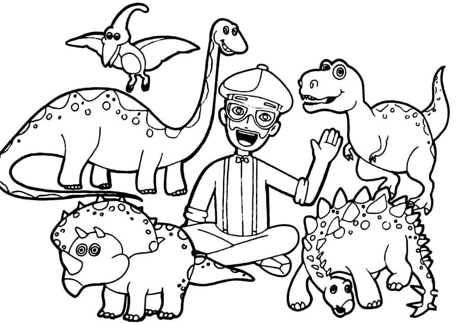 Dinosaurs And Blippi Coloring Page