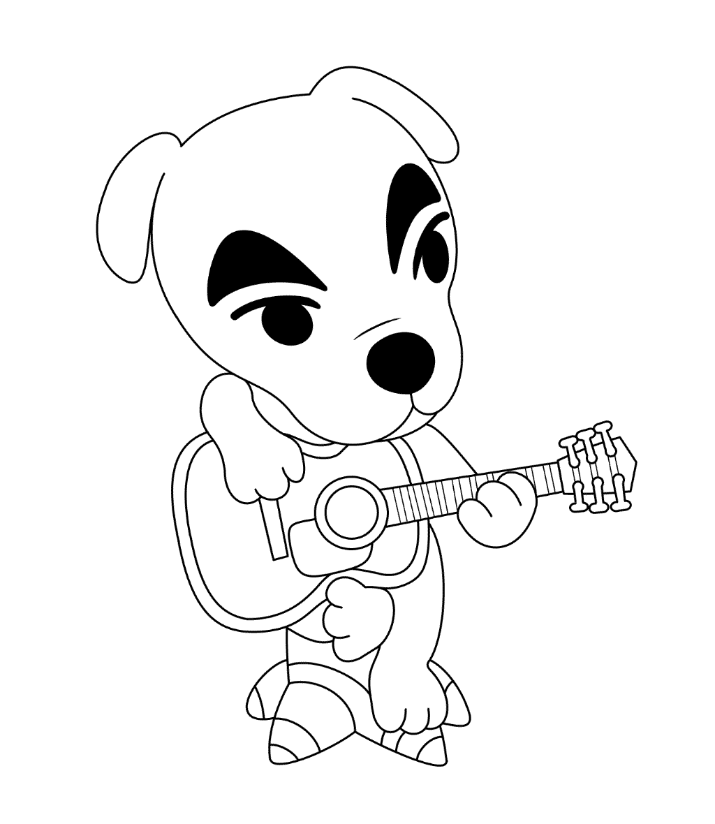 Dog Playing Guitar Coloring Page